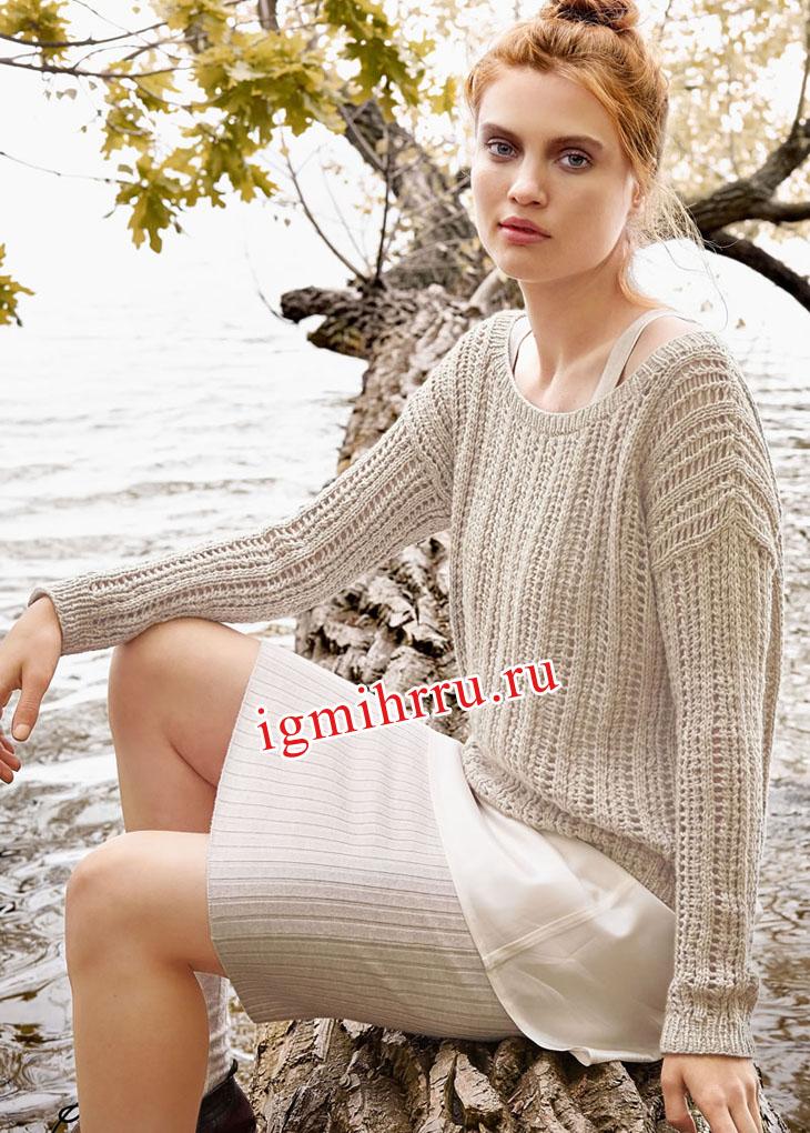 Светло-бежевый ажурный пуловер. Вязание спицами