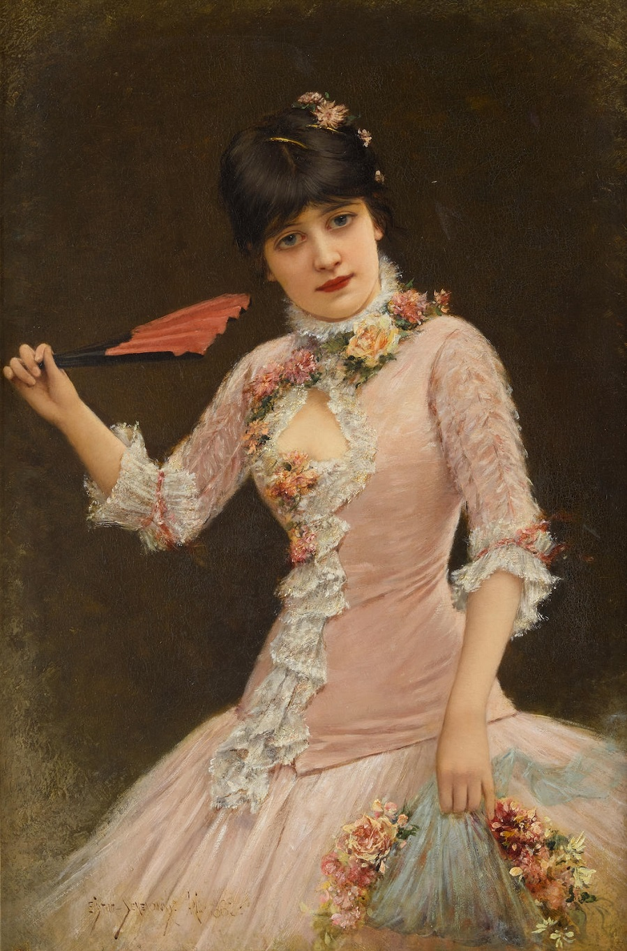 A Portrait of a Young Lady in Pink Dress