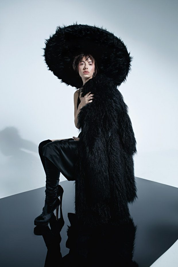 Hat: designer Kucherenko Coat: Ainea Dress: Alexander WANG Footwear: LESILLA