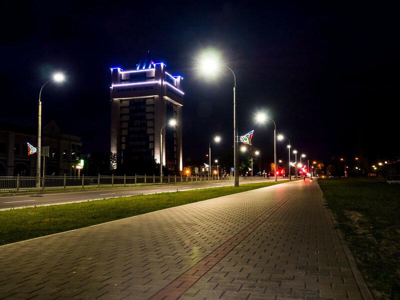 Ночной Брест: проспект Машерова.