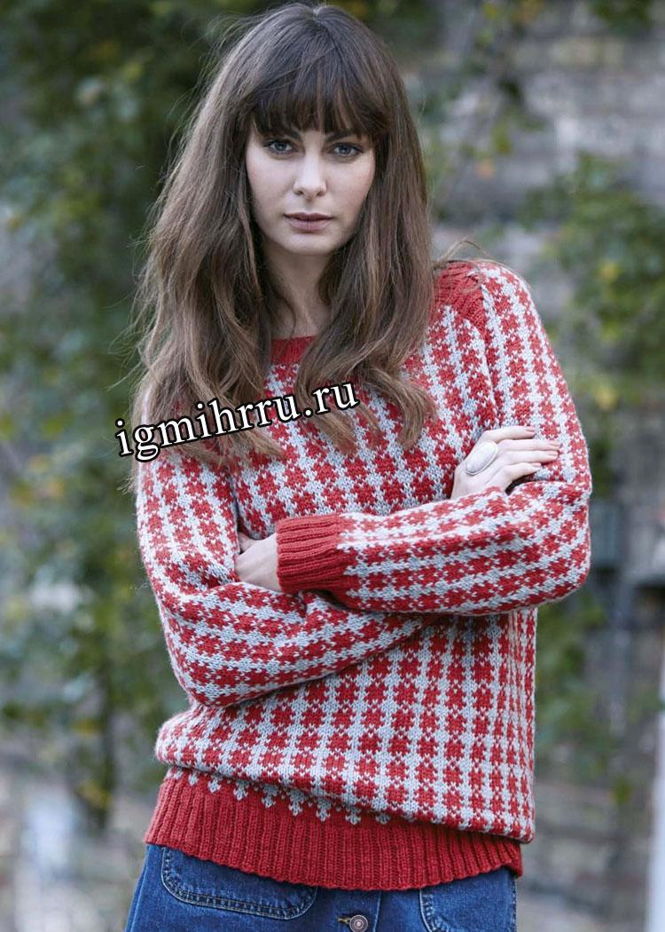 Красно-серый жаккардовый пуловер из чистошерстяной пряжи. Вязание спицами