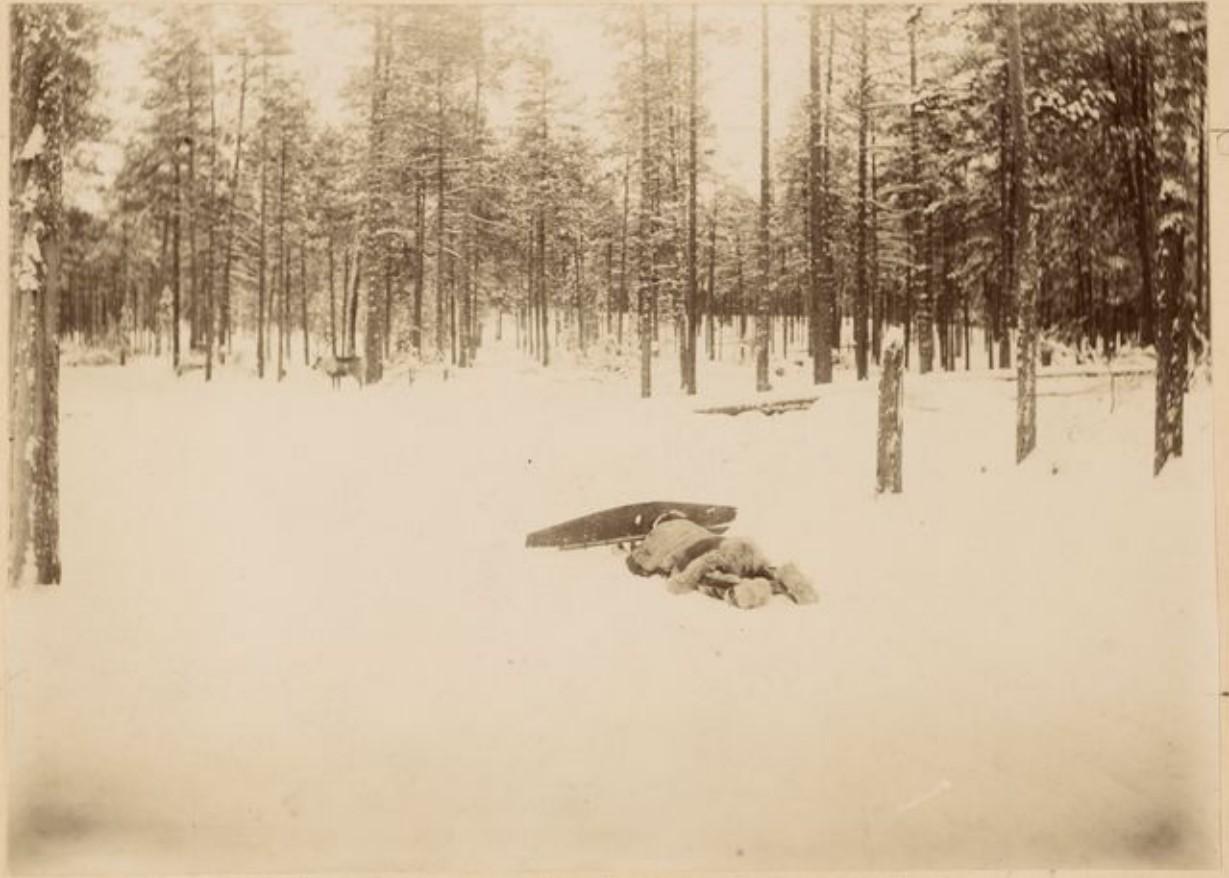 Охотник, выслеживающий оленя на реке Аган