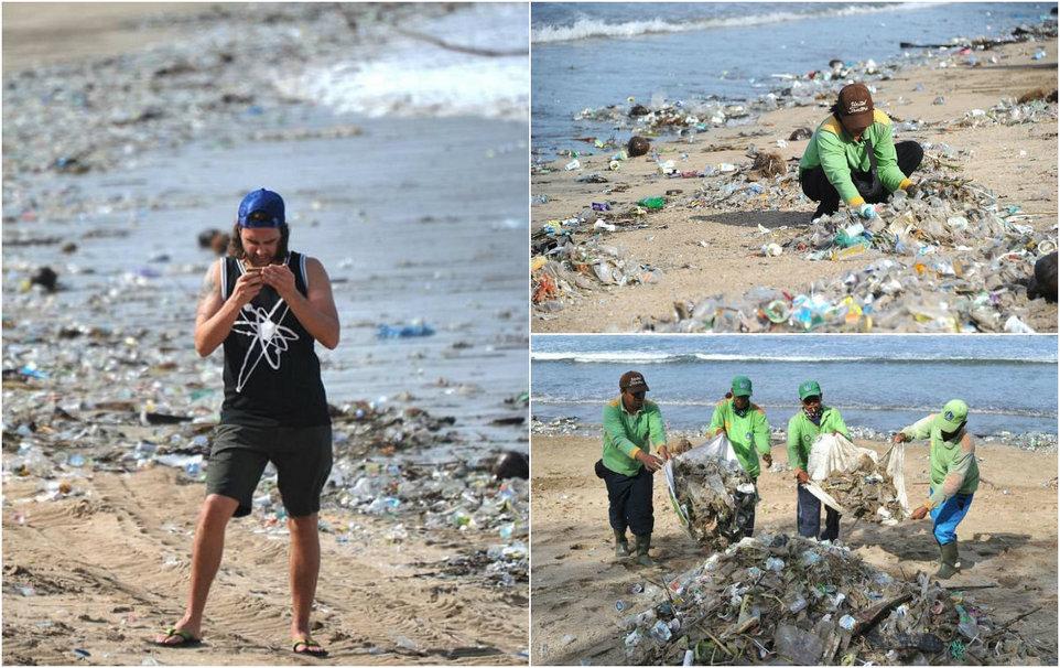 Пляжи Бали исчезают под горами пластикового мусора