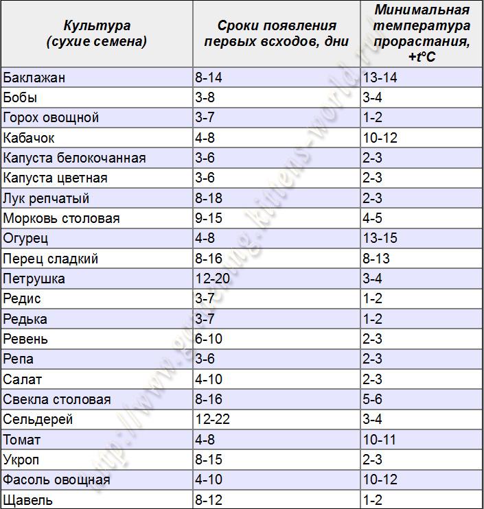 Условия и сроки прорастания семян