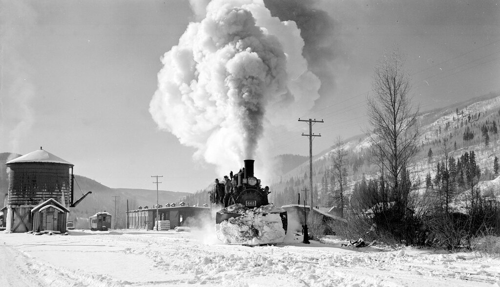 Rio Grande Southern narrow gauge locomotive, engine number 461 coming from roundhouse spur, engine type 2-8-2. Rico, Colorado, November 17, 1951.