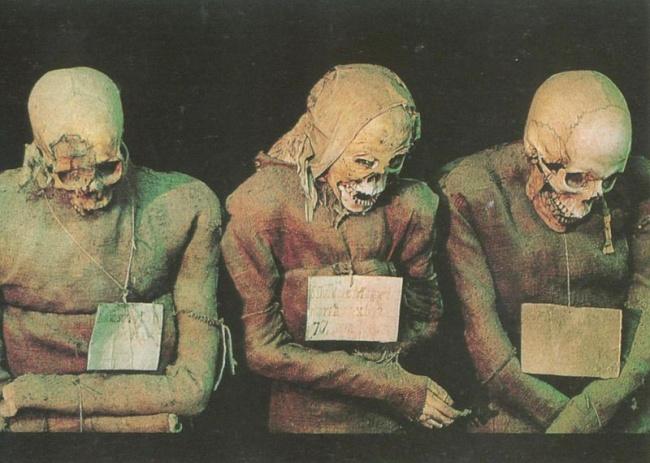 В итальянском городе Палермо расположены погребальные катакомбы, где в открытом виде покоятся останк