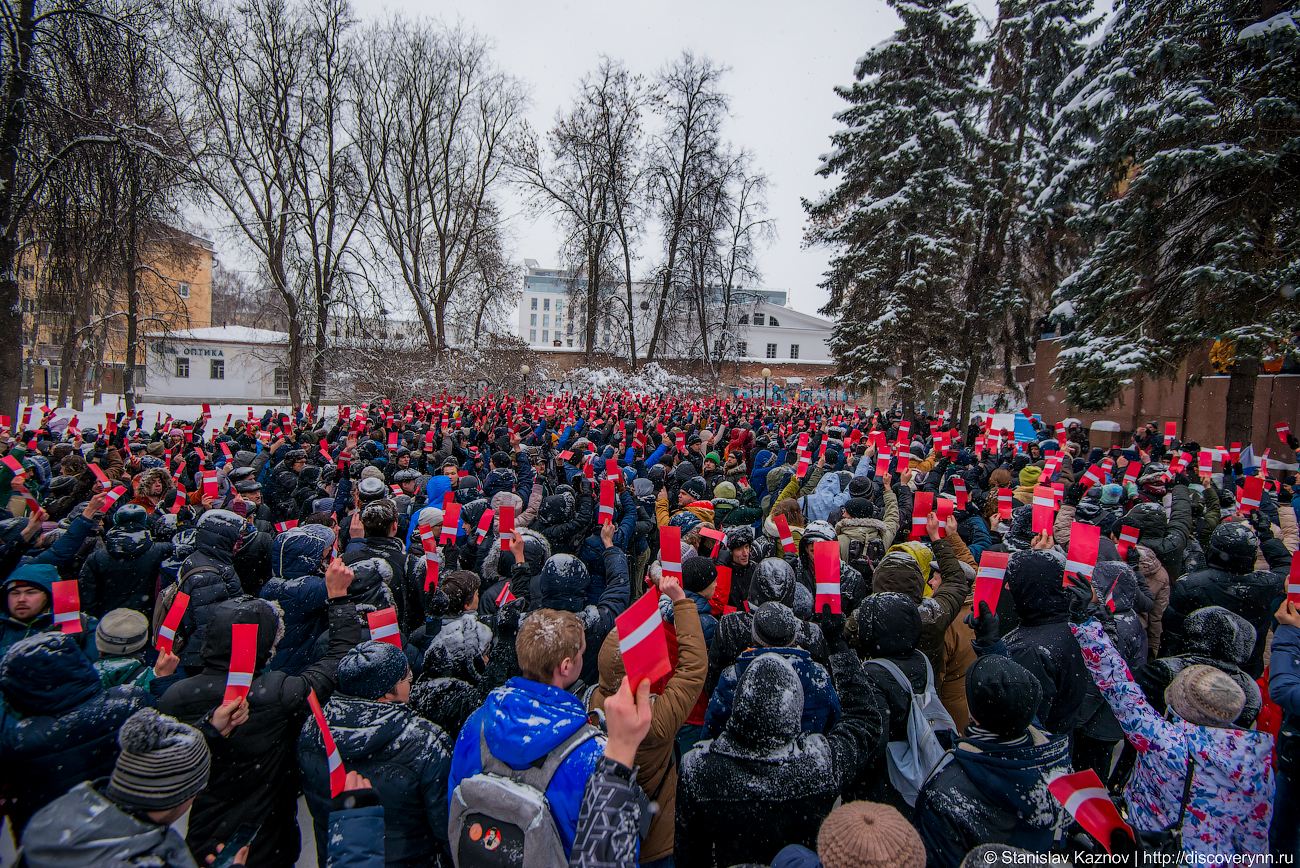 Поддержка самовыдвижения Алексея Навального на пост президента РФ в Нижнем Новгороде 24.12.2017