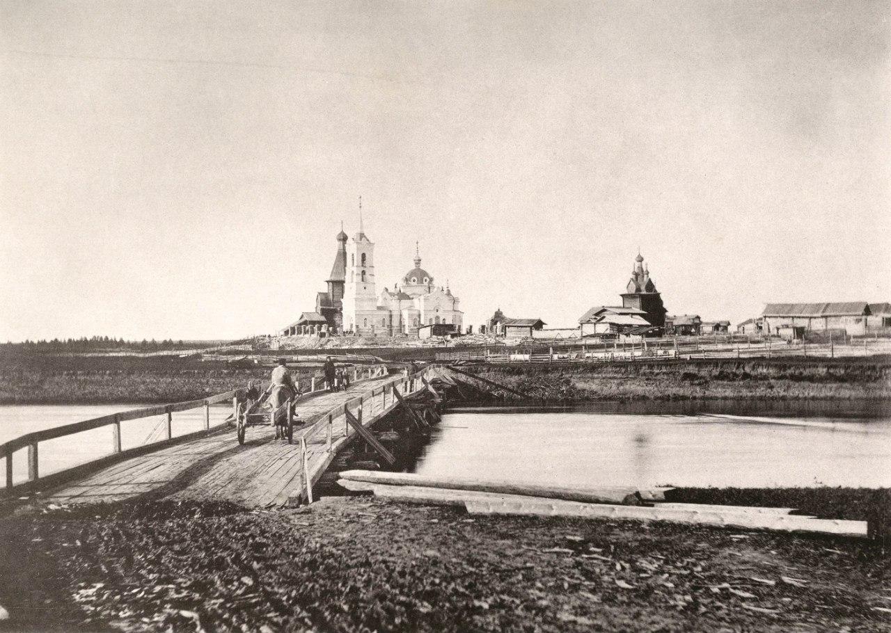 Вид села Сура на реке Сура. 1891
