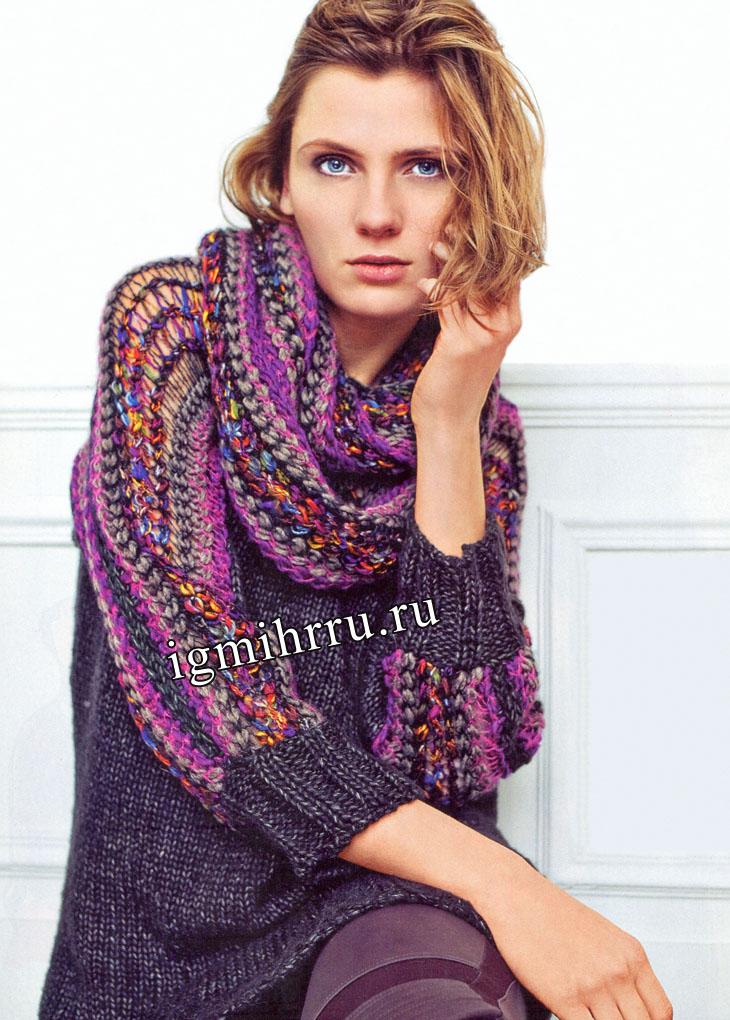 Пуловер с разноцветными рукавами и шарф-хомут. Вязание спицами