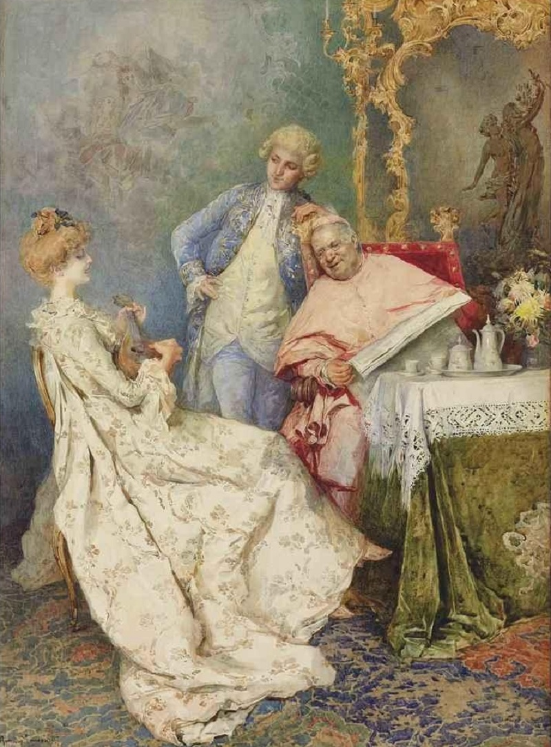 A young woman playing a lyre for a cardinal and an attendant in a lavish interior.Jpeg