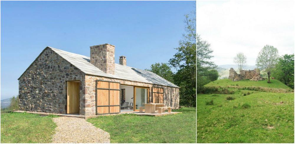 Каменные руины старого сарая превратили в крестьянский домик