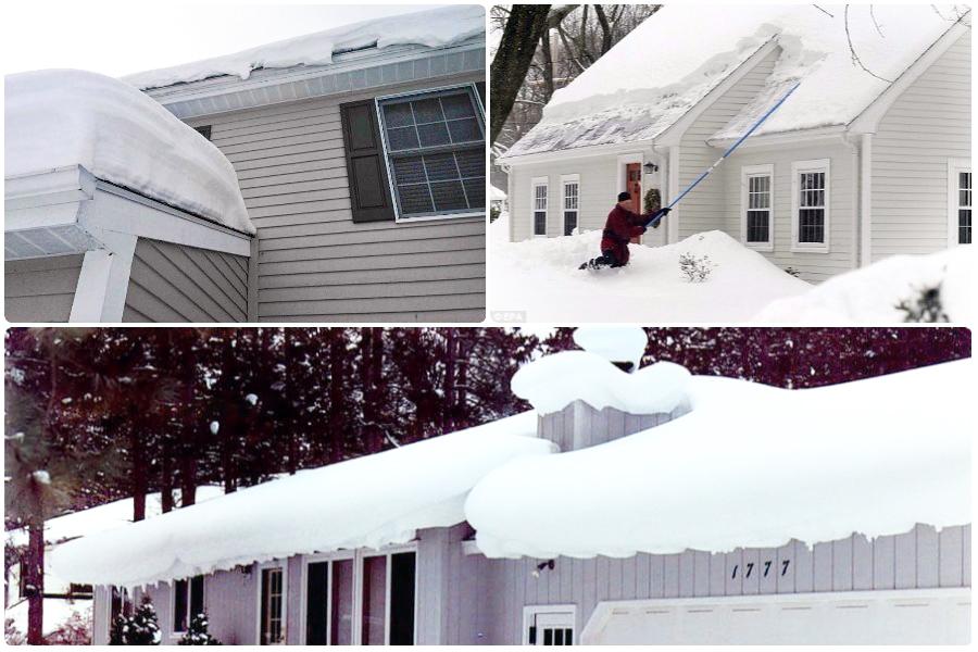 Приспособление для уборки снега с крыши дачного домика своими руками
