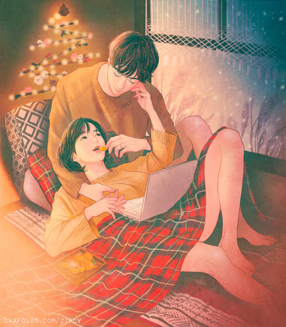 Happy winter / рисунки Zipcy