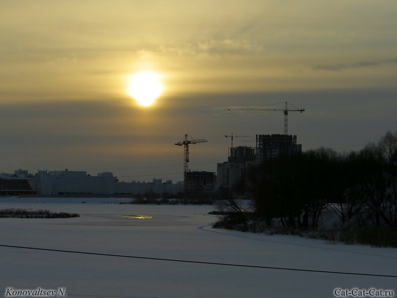 Закат над стройкой, зима 2018