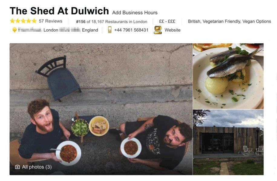 К августу несуществующий ресторан занял 156-ю строчку в рейтинге.