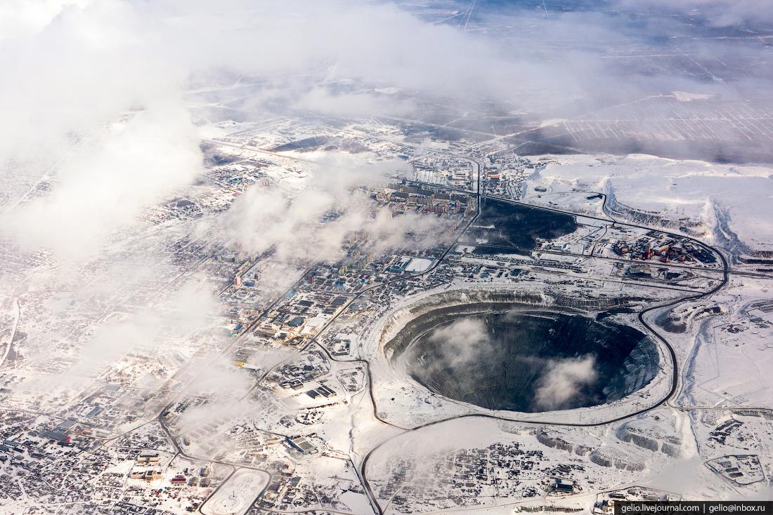 Город Мирный. Фотографии из окна самолета