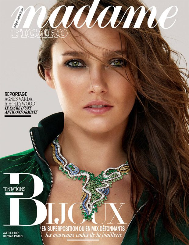 The stunning  Karmen Pedaru  takes the cover story of  Madame Figaro