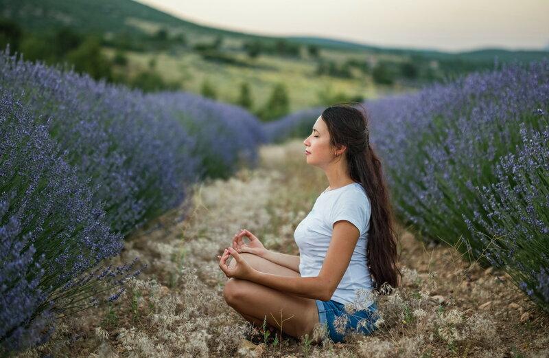 Woman meditating in lavender fields