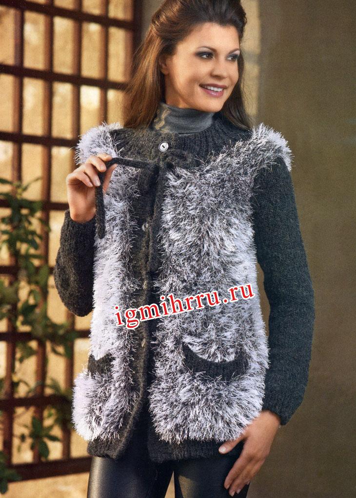 Серый меховой жакет с карманами. Вязание спицами