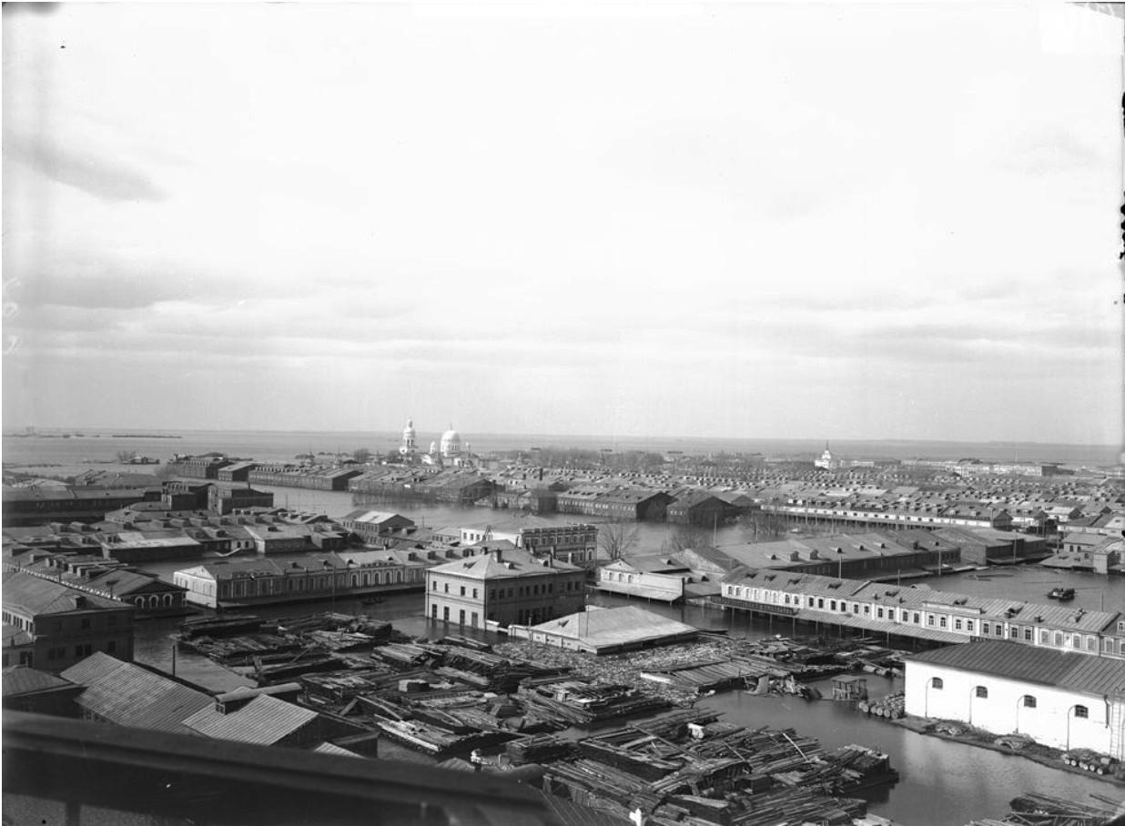 Вид на Нижегородскую ярмарку во время половодья