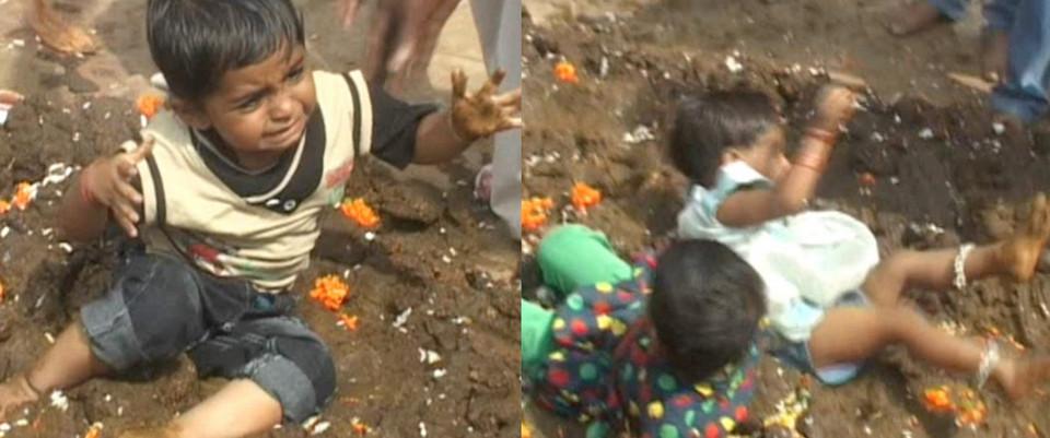 Индийский ритуал удачи: родители бросают детей в навоз