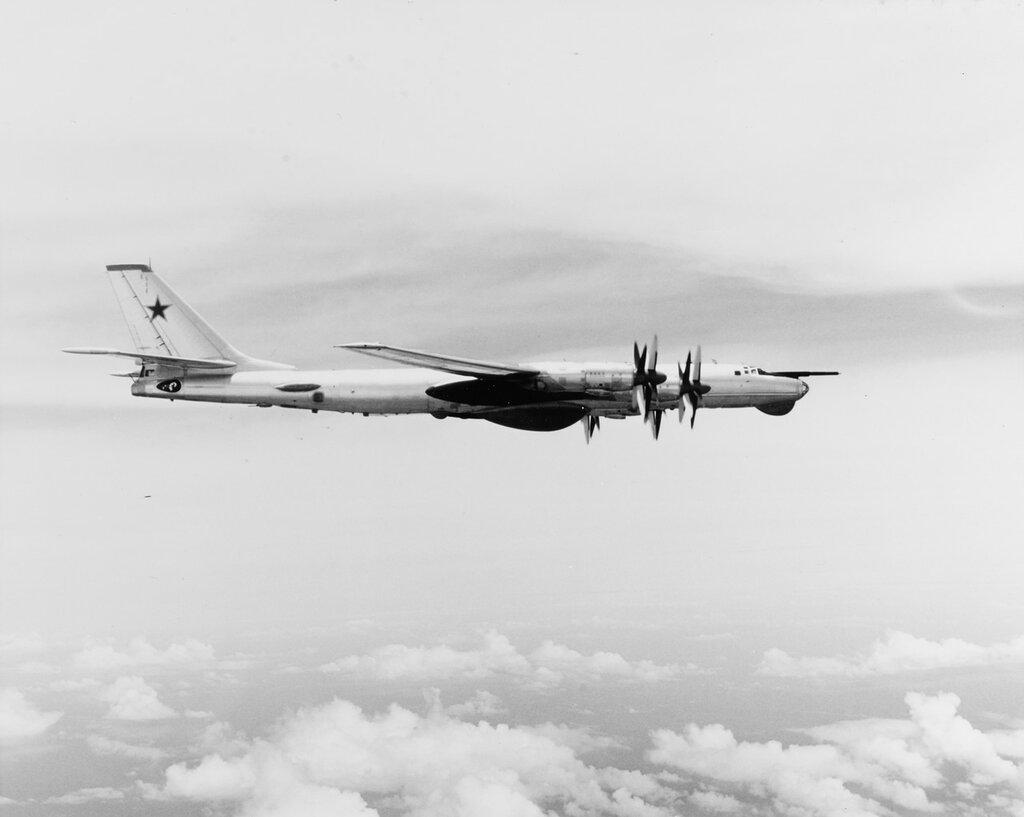 Soviet TU-95 Bear Naval RECCE Aircraft. In flight, May 1974.
