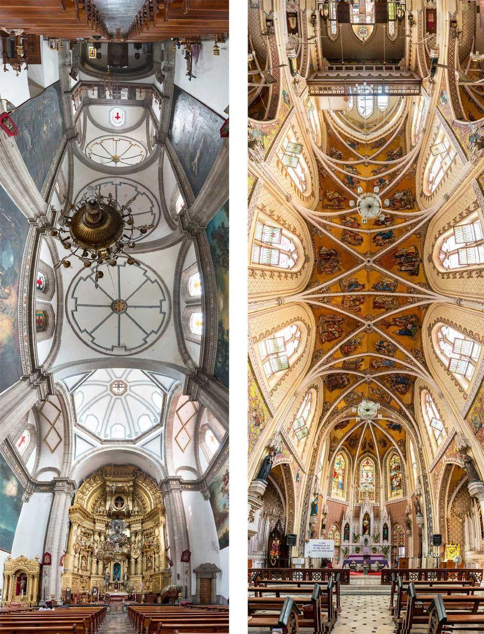 Слева: церковь Сан-Франциско в Мехико. Справа: собор Святого Духа в Мумбае, Индия.