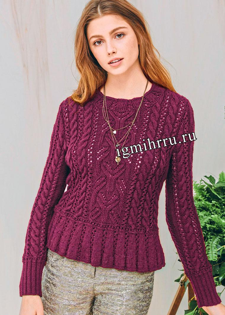 Изысканный бордовый пуловер с миксом узоров и баской. Вязание спицами