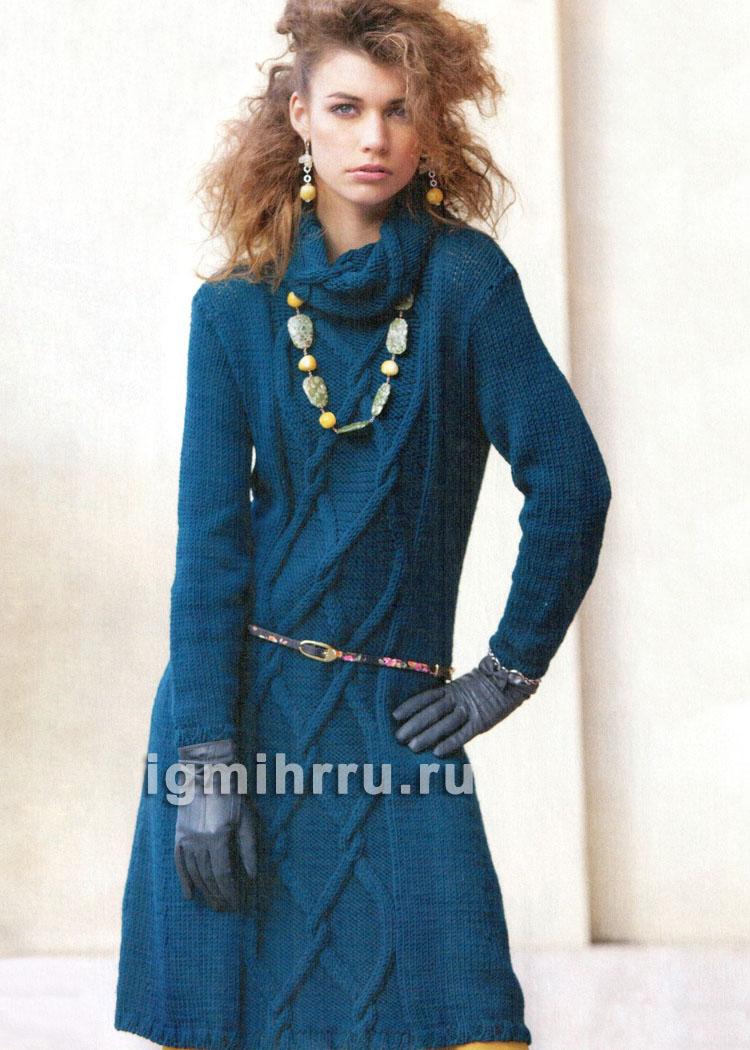Синее шерстяное платье с косами. Вязание спицами