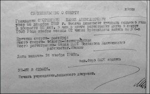 1989. Свидетельство о смерти