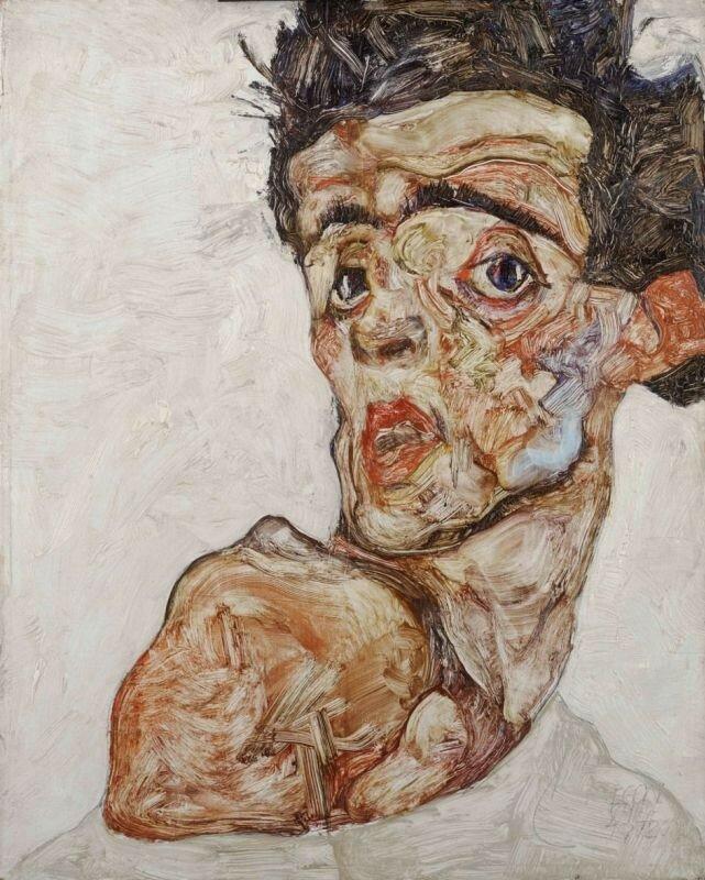 Эгон Шиле. Автопортрет с поднятым голым плечом. 1912