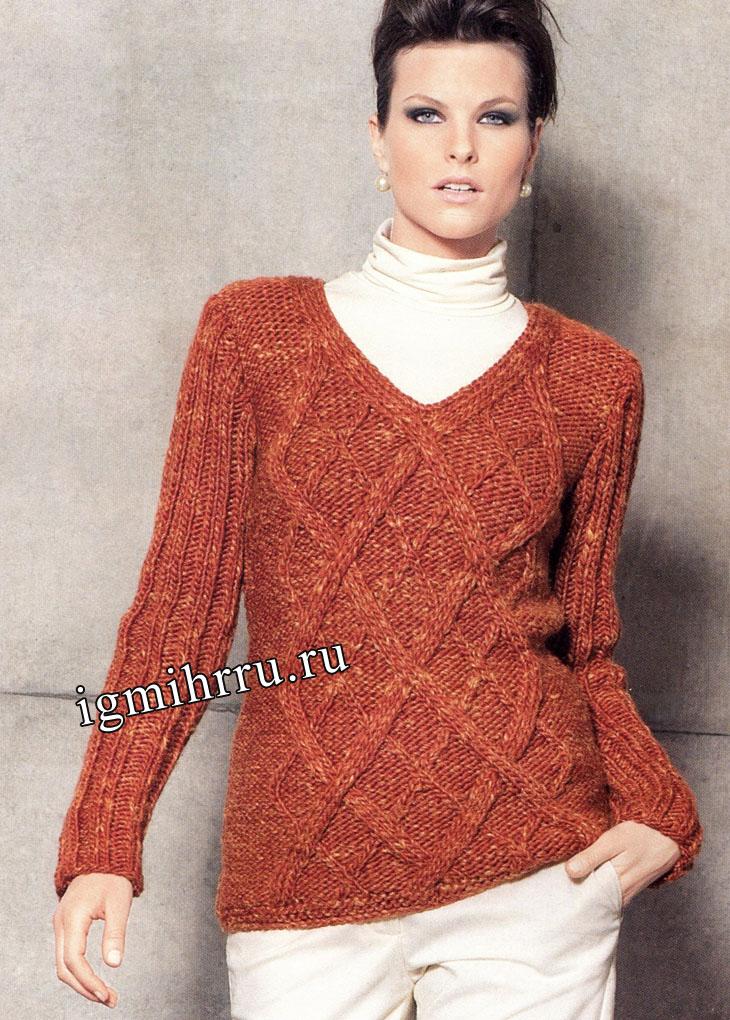 Красно-рыжий пуловер с ромбами. Вязание спицами