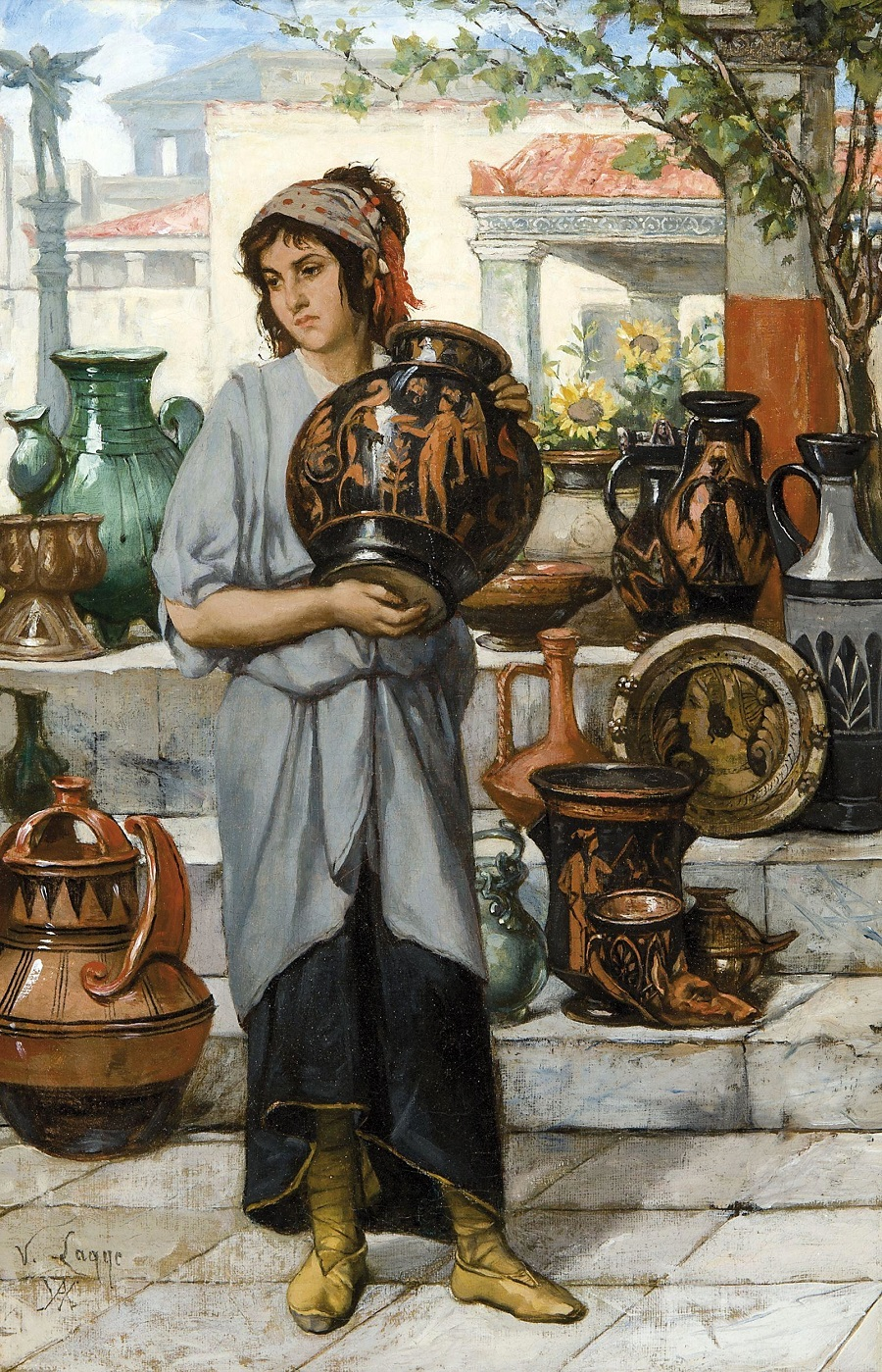 Young woman selling Greek pottery