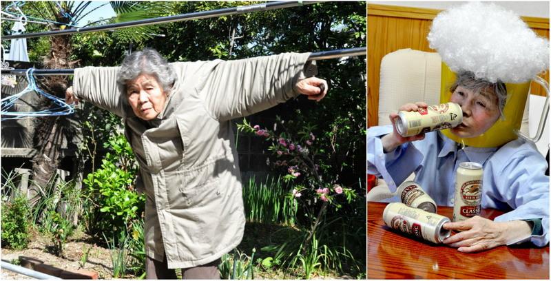 89-летняя японка делает забавные автопортреты