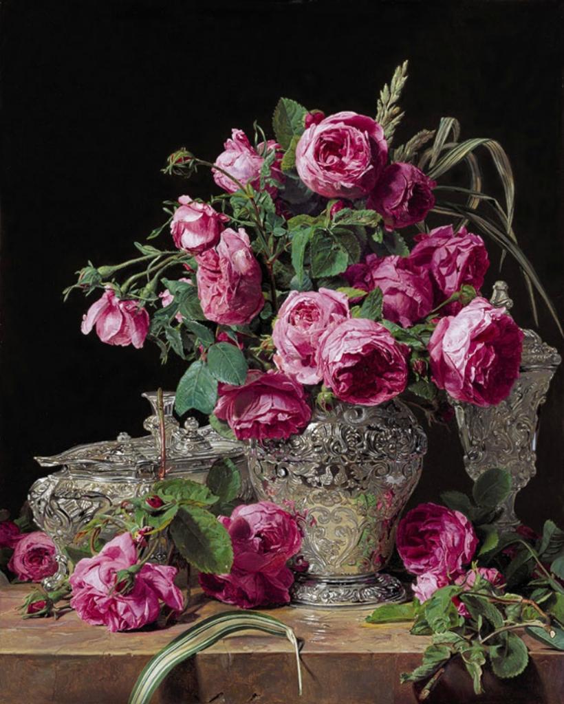 Розы и серебряная посуда Фердинанд Георг Вальдмюллер XIX век