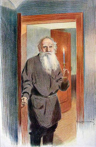 В.И. Россинский. Толстой прощается с дочерью Александрой, 1911 год.   С 27 на 28 октября (по ст