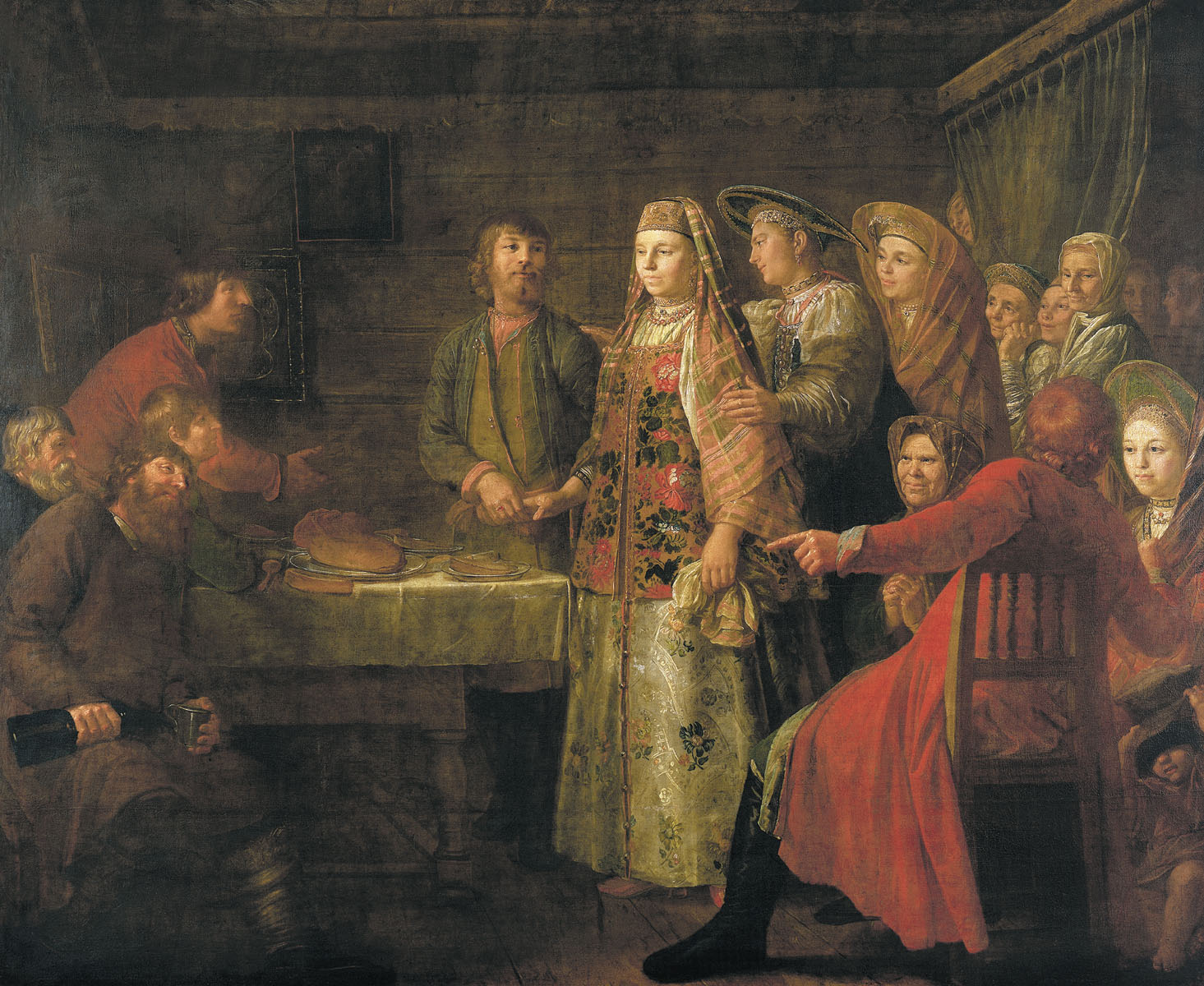 У русских же первая брачная ночь происходила во время свадебного торжества, поэтому очень важно было