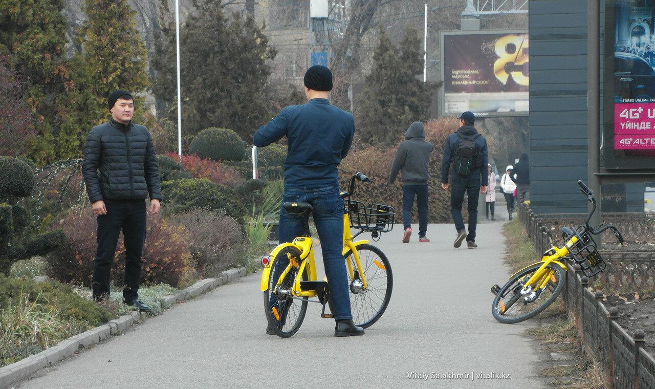 Велосипедисты на велосипедах ofo. Проспект Назарбаева, 1 декабря 2017.