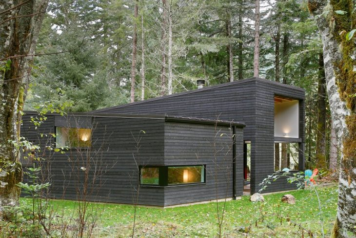 Designed by Robert Hutchison Architecture, this 2-bedroom wooded residence is located just outside S