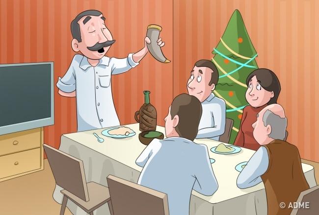 В Грузии верят, что тосты, произнесенные запраздничным столом, имеют особую силу идобрые пожелани