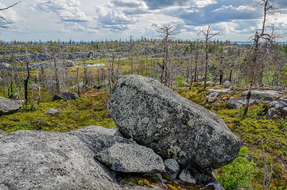 На вершине плато расположено болото. Крупные камни рядом с болотом называют амфитеатром: