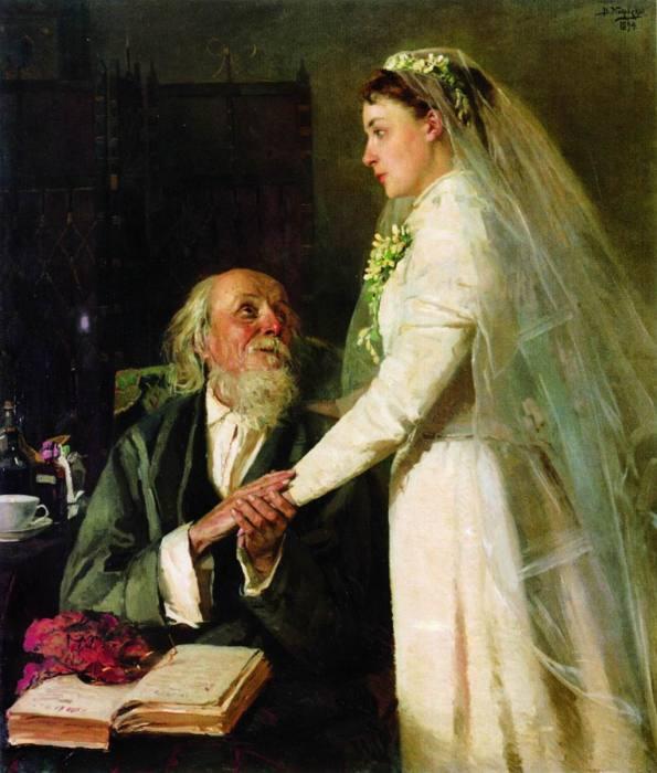 На картине Пукирева, написанной в 1862 году, — у невесты большой громоздкий кринолин; с таким из-под