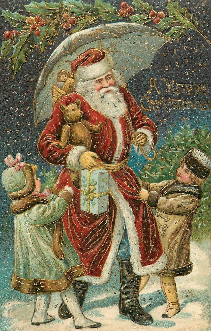 Дизайну, антикварные открытки рождество