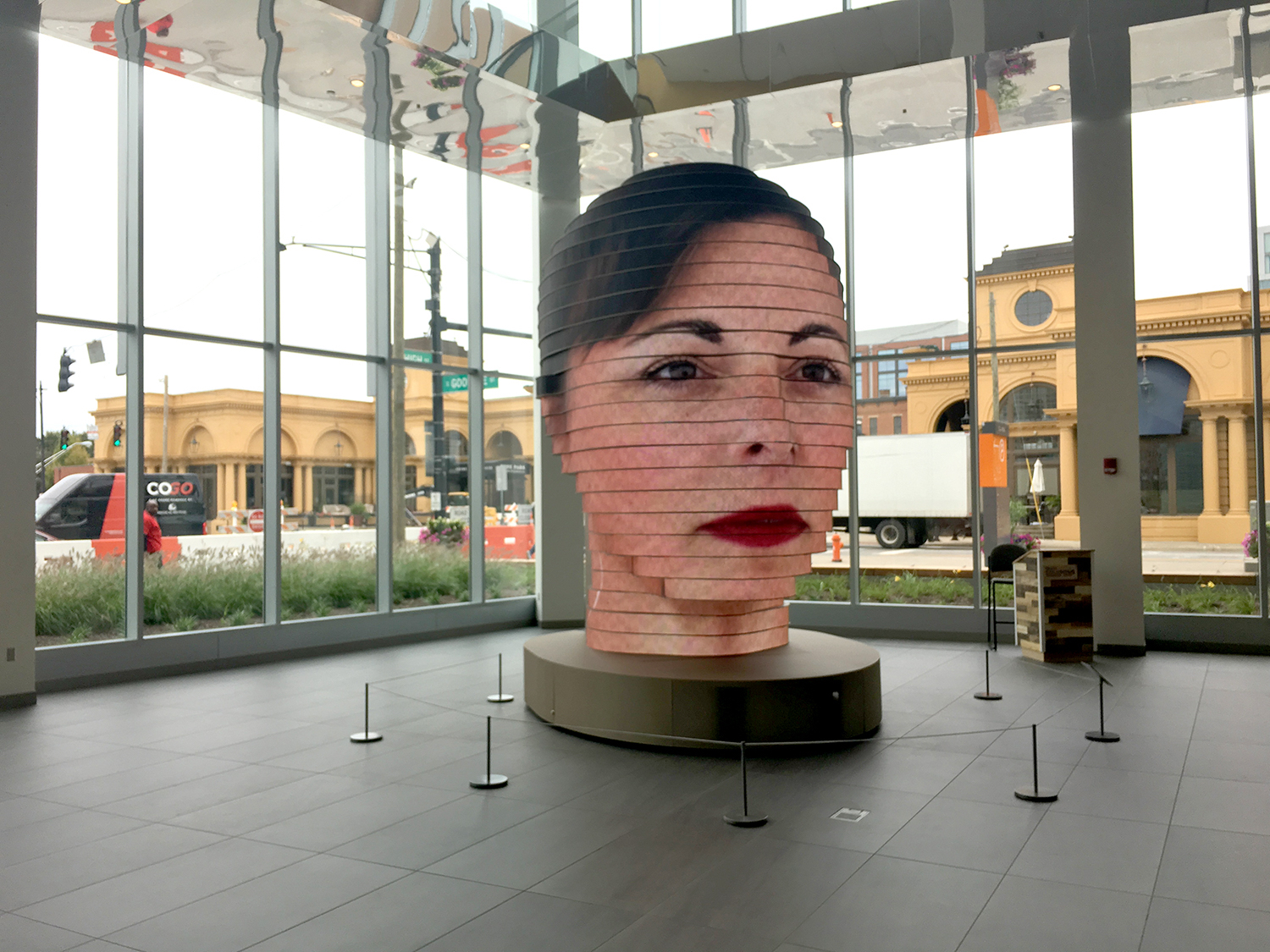 Interactive LED Sculpture Projects Visitors' Faces