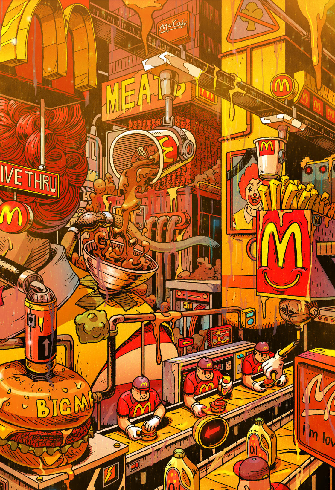 The hell of fast foods summed-up in three striking illustrations