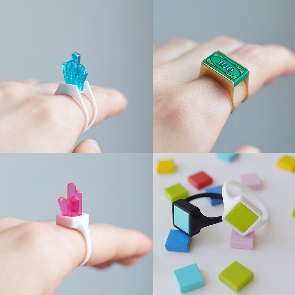 LEGOs Snap Into Place in Hintlab's Line of Playful Rings and Earrings