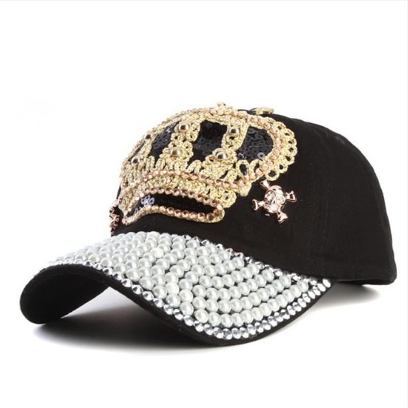 Rancyword  Women Denim snapback Hat Lady jean hat Point drill pearl ... 29f8c185d022