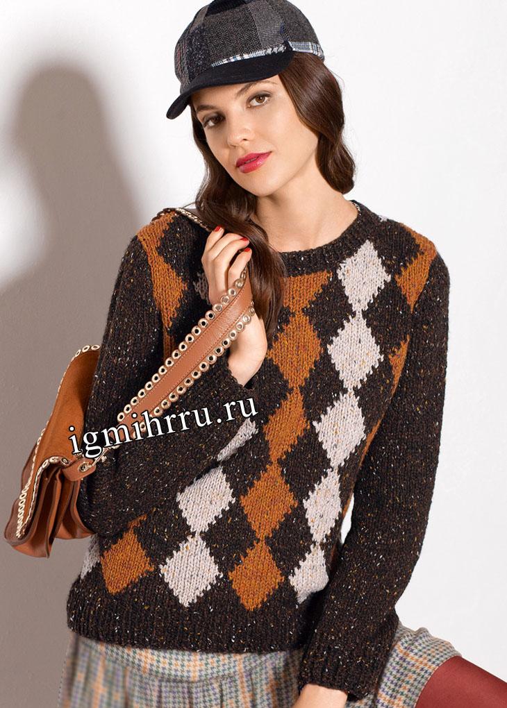 В шотландском стиле. Пуловер с узором из ромбов. Вязание спицами