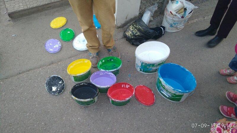 Краски для раскрашивания бетонных парковочных полусфер