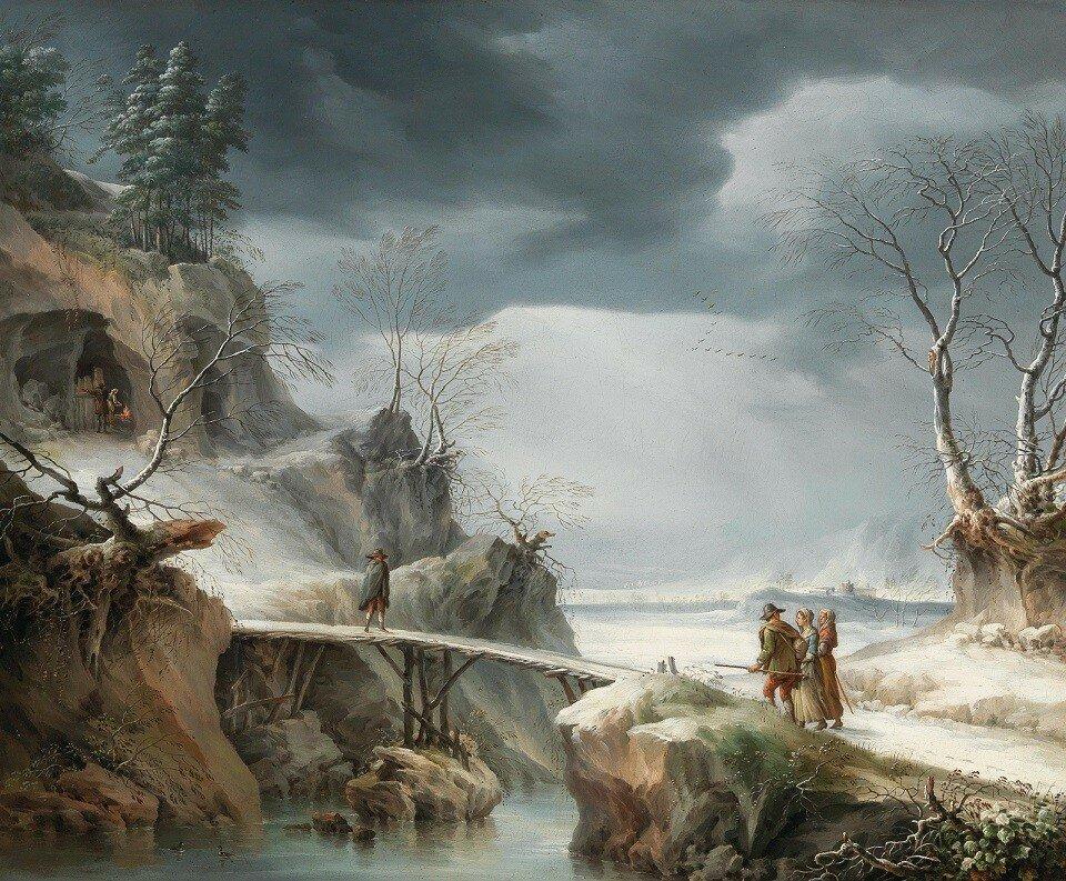 Зимний пейзаж с путешественниками (A winter landscape with travellers)_63 х 75.5_х.,м._Частное собрание.jpg